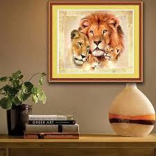 online shop diy 5d diamond painting pattern lion family cross
