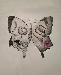 butterfly skull color drawing drawing by cozzone