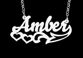 Silver Name Necklace Silver Name Necklace Model Amber