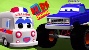 monster truck cartoon videos monster truck and ambulance 3d video for children cartoon cars