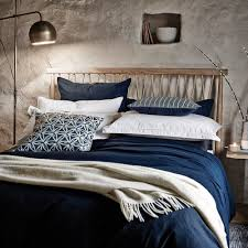 murmur still navy bed linen navy linen u0026 cotton mix navy