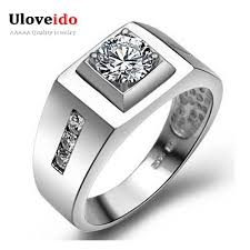 men rings silver images Uloveido mens ring silver color male ring wedding engagement rings jpg