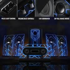 5 1 surround sound computer speakers with 80 watts and blue led