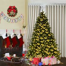 pre lit artificial christmas trees costway rakuten costway 7ft pre lit artificial christmas tree