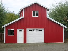 elegant red pole barn home interiors that has white door can add