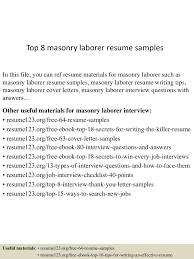 sample resume for construction worker labourer examples bernsteinr