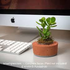 plant on desk concrete holder kris art glass