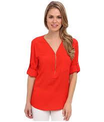 calvin klein blouses upc 887345233108 calvin klein zip v neck blouse