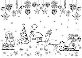 christmas background with black contour cartoon santa claus and