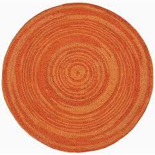 Rugs 8 X 8 Hand Woven Orange Abrush Braided Jute Rug 8 U0027 X 8 U0027 Round Free