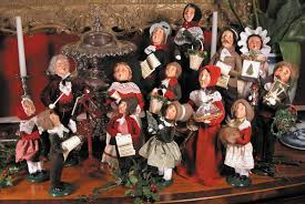 heavenly image of decorative colorful figurines choir