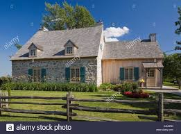 18th century fieldstone cottage style home quebec canada stock