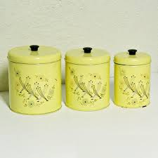 Martha Stewart Kitchen Canisters Vintage Canister Set Tins Yellow Retro Flowers Flour And Sugar