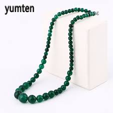 green agate necklace images Yumten green agate necklace power natural stone crystal men for jpg