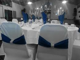 White Spandex Chair Covers White Spandex Chair Cover Royal Blue Band W Silver Rhinestone