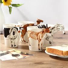 festival gift ceramic coffee milk tea mug 3d animal shape hand