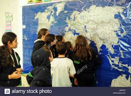 Mexico City World Map by Mexico Mexico City Children Looking At Large Wall World Map