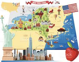 New York State Map Cartoon Map Of New York Stock Vector Art 453408875 Istock