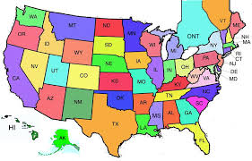 map of 50 us states with names 50 states postcard startsateight