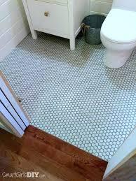 small blue rug on brown ceramic floor tileblue bathroom tiles