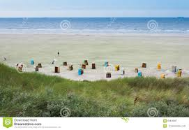 beach chairs at the island of juist in germany stock photo image