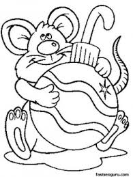 printable mouse with decorations coloring pages for