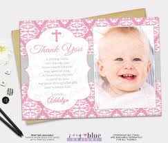 Happy Christening Invitation Card Pink Picture Thank You Card Pink Damask Grey Baptism