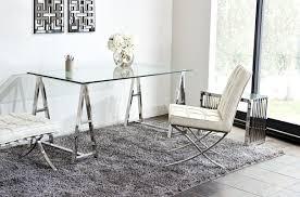 Glass Office Desk Deko Stainless Steel Desk W Clear Tempered Glass Top By Diamond Sofa