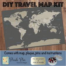 World Map Poster With Pins by Diy Earth Toned World Push Pin Travel Map Kit Push Pin Travel Maps