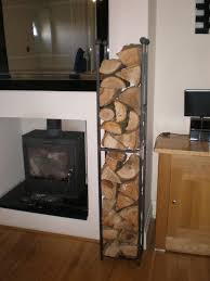 vertical black metal indoor firewood rack for wall built in small