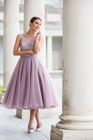 tea length lace and organza dress special day bridesmaids