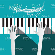 piano key notes hands on piano keyboard with stuff and notes stock vector art