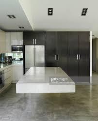 freestanding breakfast bar in kitchen in australian home stock