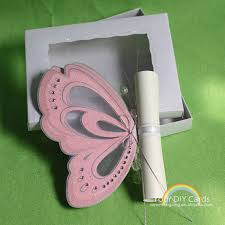 scroll invitation cards with pink color butterfly unique