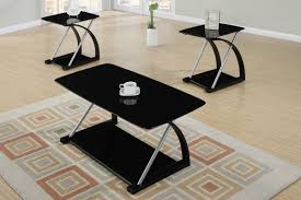 glass coffee table set of 3 black veneer and silver metal 3 piece coffee table set affordable
