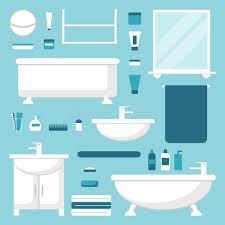 Elements Bathroom Furniture Bathroom Elements Set Isolated Bathroom Furniture Stock Vector