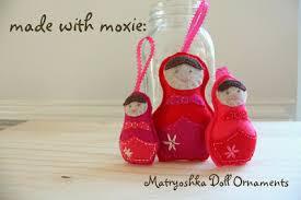 made with moxie felt matryoshka nesting doll ornaments
