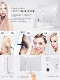 Makeup Mirrors Lighted Bestope Led Lighted Vanity Makeup Mirror With Tri Fold Touch