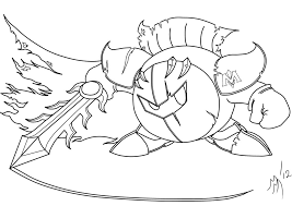 9 images of meta knight coloring book page kirby and meta knight