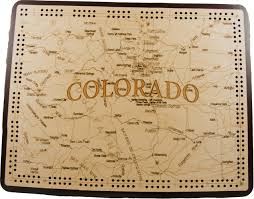 Colorado Map by Colorado State Shape Map Cribbage Board
