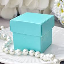 robin egg blue gift boxes mini square 2x2x2 wedding bridal shower favor box with
