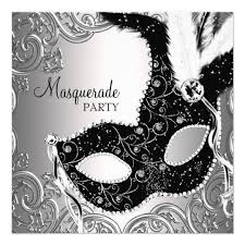 mask for masquerade silver black mask masquerade party card zazzle