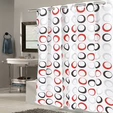 Circles Shower Curtain Ez On Circles Fabric With Built In Hooks Black Grey Shower