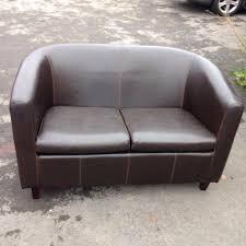 Tub Sofa Leather Comfy 2 Seater Tub Sofa Chocolate Brown In Harrogate