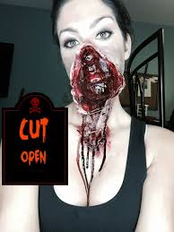 halloween makeup series cut open torn face youtube