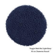 Light Blue Bath Rugs 100 Cotton Toggle Floor Bath Mat Round By Idc Homewares