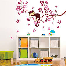 peach blossom flowers monkey beautiful spring view diy wall sales peach blossom flowers monkey beautiful spring view diy wall wallpaper stickers art decor mural room decal