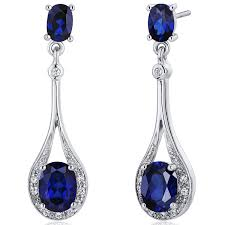 dangling earrings created blue sapphire dangle earrings sterling silver