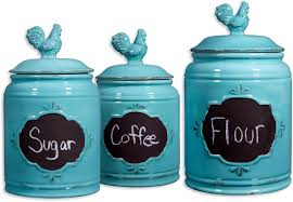 blue kitchen canisters amazon com set of 3 aqua ceramic chalkboard rooster