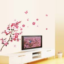 online get cheap flowers wallpaper walls stickers aliexpress com home wall stickers beautiful peach blossom flowers wall decals home decor wall art quote bedroom wallpaper